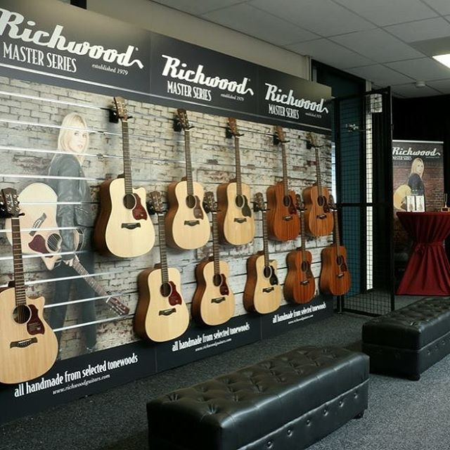 WOW!!!!! This is the new in store 'Richwood Wall' available to all Richwood dealers worldwide!!! Unbelievably ecstatic #Richwood #guitars