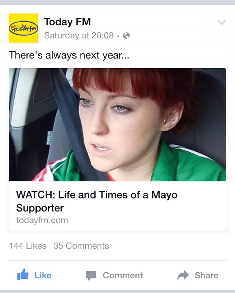 Chuffed to see @todayfmireland shared the video on their Facebook page :) whoop :) #mayo #gaa #video #viral #taylorswift #clisare