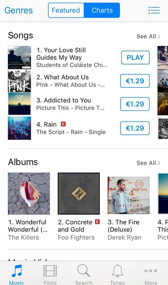 Students of Coláiste Chill Mhantáin Reach **No 1 on iTunes & **No 10